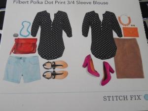 41Hawthron Filbert Polka Dot Print 3/4 Sleeve Blouse