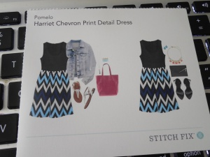 Pomelo Harriet Chevron Print Detail Dress